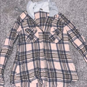 BUTTON UP FLANNEL WITH HOOD